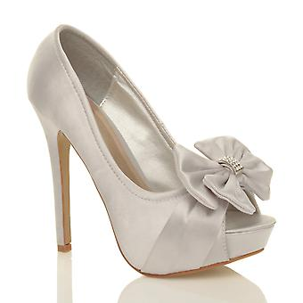 Ajvani womens wedding evening bridal high heel platform prom diamante peep toe court shoes sandals