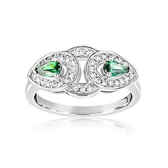Ring in Silber 925 und 40 Kristalle Swarovski Zirkonia weiß und grün