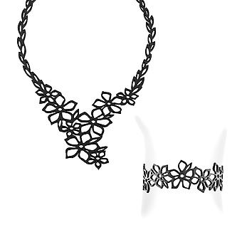 Set necklace and Bracelet flower of tiara in Silicone black tattoo effect