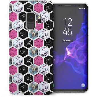 Samsung Galaxy S9 Marble Hexagons TPU Gel Case - Pink