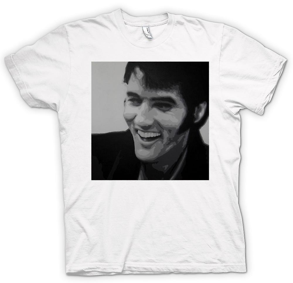 Womens T-shirt - Elvis Presley Smiling - BW - Pop Art