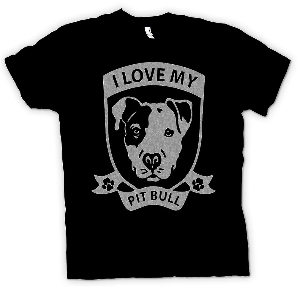Womens T-shirt - I Love My Pitbull