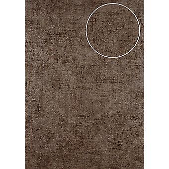 Uni wallpaper ATLAS CLA-598-9 non-woven wallpaper smooth lustrous brown in the used look Brown-grey 5.33 m2