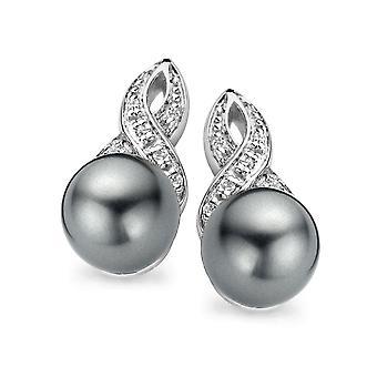 Pendiente de plata 925 de Orphelia gris perla y circonio ZO-5042