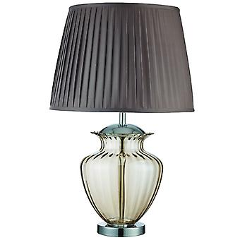 Elina Table Lamp Large Glass Urn, Amber Glass, Chrome, Brown Pleated Shade