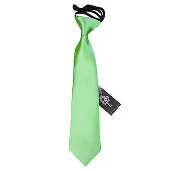 Lime Green Plain Satin Elasticated Tie for Boys