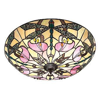 Interiors 1900 Ashton Pink Lilly & Dragonfly Tiffany Glass Flush Shade