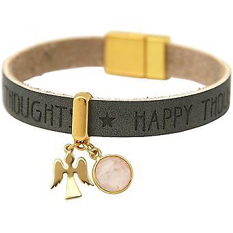 -Pulsera - protección Angel - Rosa - cuarzo rosa - magnético cierre oro plateado - deseos - antracita - gris-