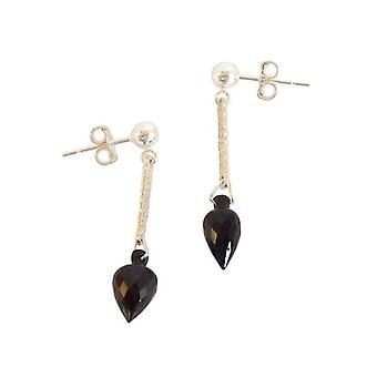 Earrings silver with black Garnet drop earrings 925 Silver MEL