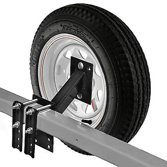 Spare Tire Carrier for Boat and Utility Trailer Spare Tire Mount Fits 4 or 5 Lug Wheel No-Drill Bracket