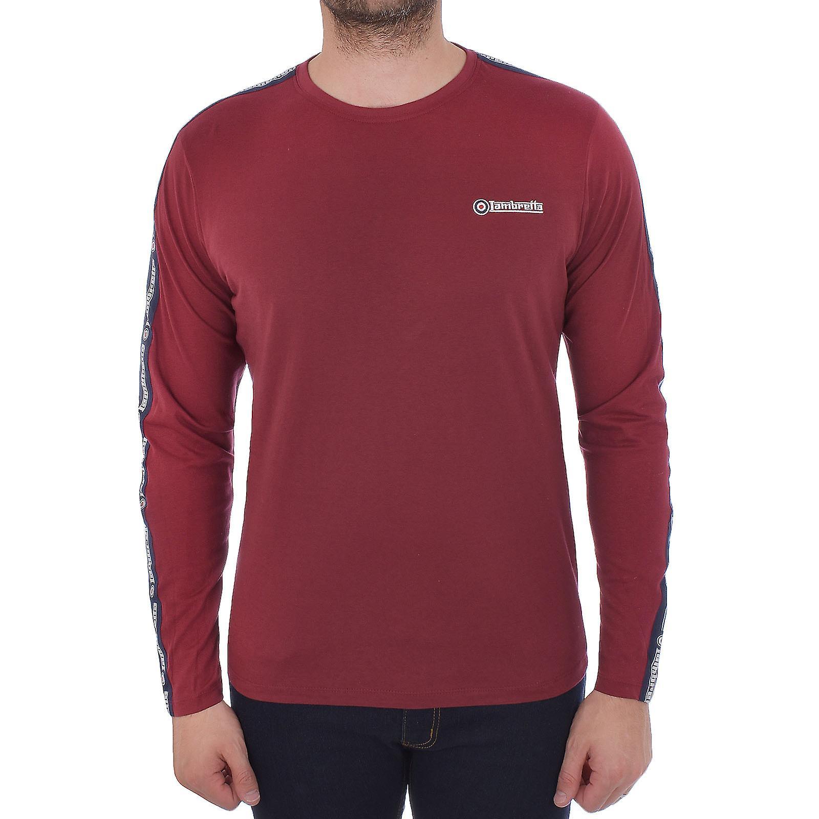 4f9b47d1d5d744 Lambretta Herren Langarm mit Klebeband Baumwolle Rundhals lässige T-Shirt T-Shirt  Top