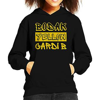 Cardi B Bodak Yellow Song Title Kid's Hooded Sweatshirt