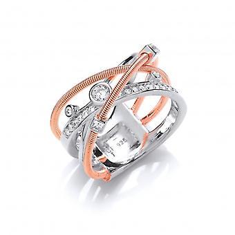 Cavendish franske sølv og Rose guld Galaxy Ring