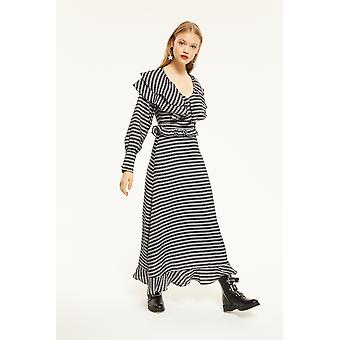 Ghospell Stripe Maxi Dress With Frill Detail