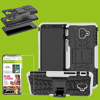 Voor Samsung Galaxy J6 plus J610F 2018 hybrid case 2 stuk wit + gehard glas tas gevaldekking van mouw