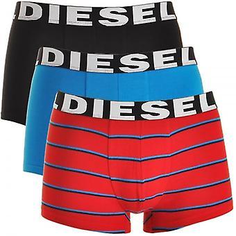 Diesel 3er Pack Boxer Trunk UMBX-Shawn, schwarz / blau / rot Streifen, große