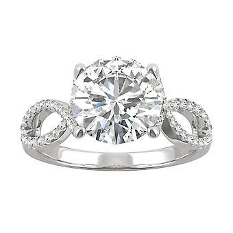 14K White Gold Forever Brilliant 9mm Round Engagement Ring, 2.95cttw DEW