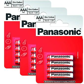 12 x Panasonic R03R-4BP AAA Size Batteries