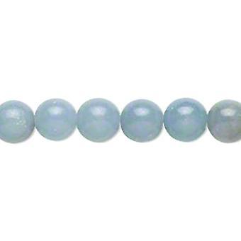 Pakket 8 x blauwe Angelite 8mm platte ronde kralen GS14237-2
