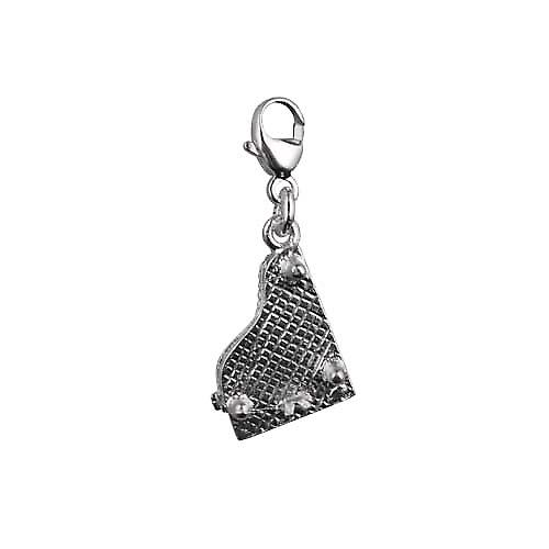Silver 15x9mm moveable Piano Charm on a lobster trigger