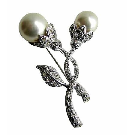 Beautiful Cubic Zircon Stem Pearls Bud Bridal Brooch