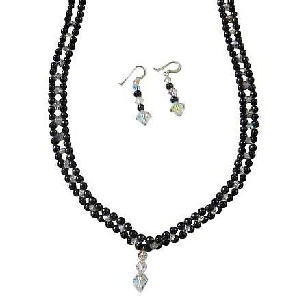 Black Swarovski Pearls Necklace Handmade Bridal Jewelry w/ AB Crystals