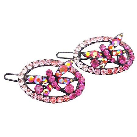 Fancy Pink Butterfly Girls Fancy Hair Barrette Oval Shaped