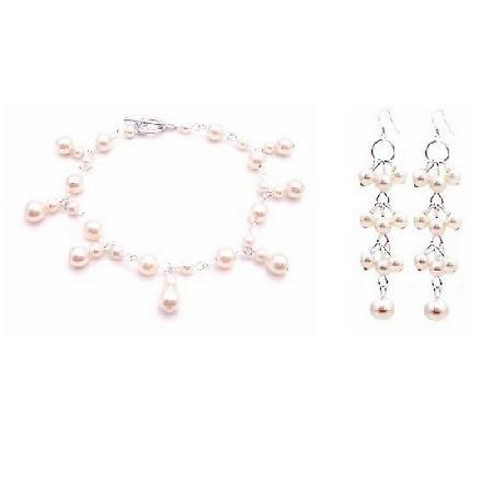 Ivory Wedding Bracelet & Earrings For Bridesmaid Pearls Bracelet Set