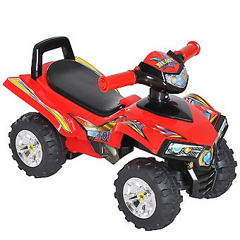 HOMCOM Kids Ride On Quads Boys Girls LED Lights Horn Music Toys Children Racing Car 4 Wheels Red