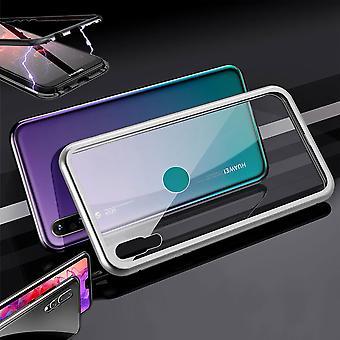 Für Huawei P30 Lite Magnet / Metall / Glas Case Bumper Silber / Transparent Tasche Hülle Neu