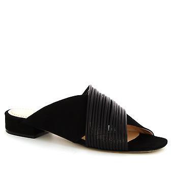 Sandales à talon bas à bout ouvert à la main de Leonardo Chaussures femmes en daim noir