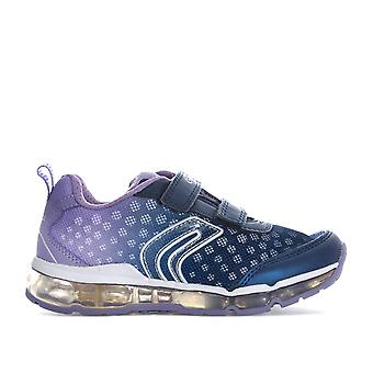 Junior Girls Geox Android Trainers In Navy- Hook And Loop Fastening- Light Up