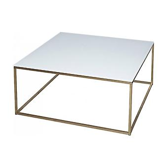 Gillmore Space White Glass And Gold Metal Contemporary Square Coffee Table