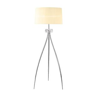 Mantra M4638 Loewe Floor Lamp 3 Light E27, Polished Chrome With White Shade