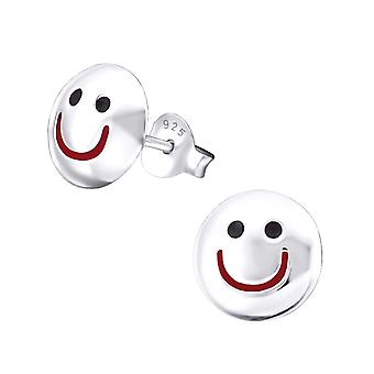 Lächelndes Gesicht - 925 Sterlingsilber Plain Ohrstecker - W19343X