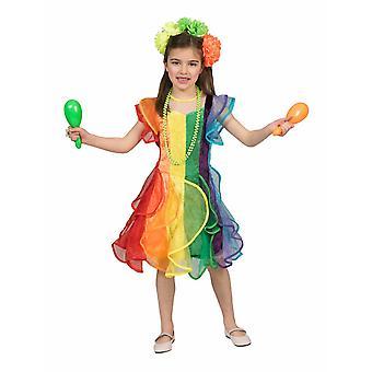 Costume Dress Rainbow Child Children Costume Rainbow Girl Colorful Carnival Carnival Pierros