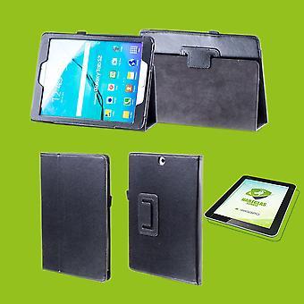 Para Samsung Galaxy Tab S6 10,5 T860 T865 capa caso de couro preto arte nova + 0.3 mm vidro duro