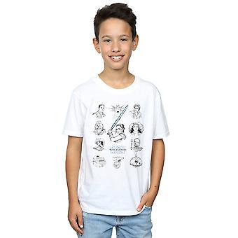 Star Wars fremveksten av Skywalker motstands charcter linje opp mono Boys T-skjorte