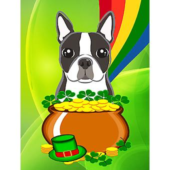 Boston Terrier St. Patrick's Day Flag Canvas House Size BB1947CHF