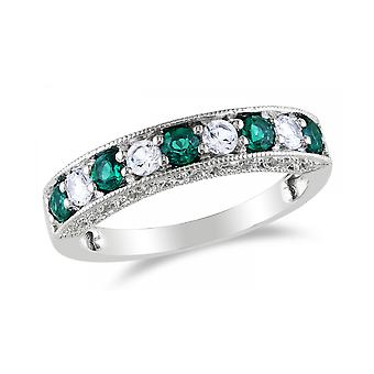 Affici Sterling Silver Semi Eternity Ring 18ct White Gold Plated  ~ Emerald & Diamond CZ Gems