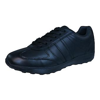 Geox J Xitizen B Boys Leather Trainers / Shoes - Black