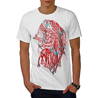 Robot Warrior Fantasy Men White T-shirt | Wellcoda