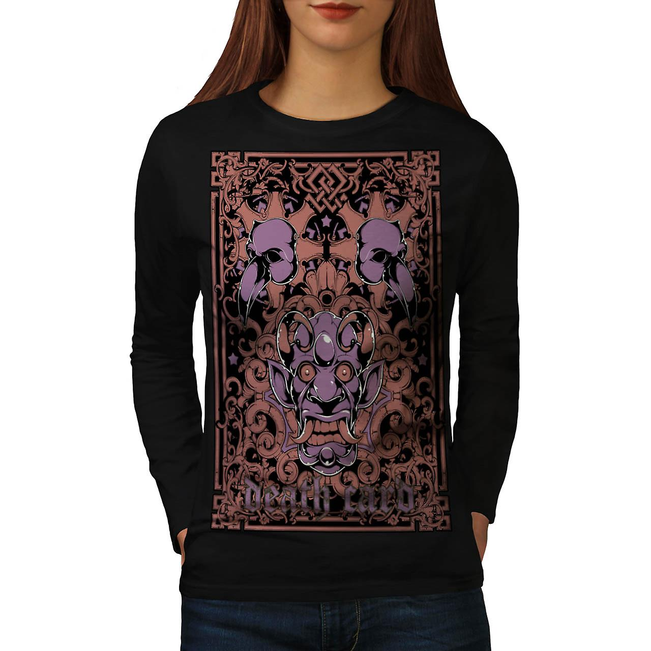 Devil Death Card Bird Gambling Women Black Long Sleeve T-shirt | Wellcoda