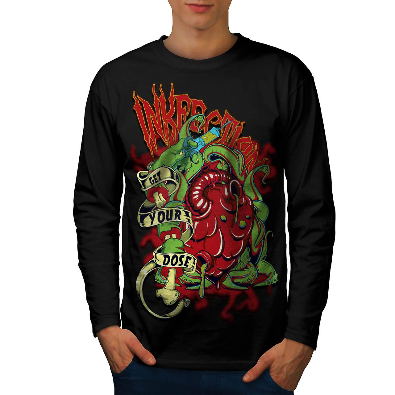 Ink Infection Tattoo Death Dose Men Black Long Sleeve T-shirt | Wellcoda