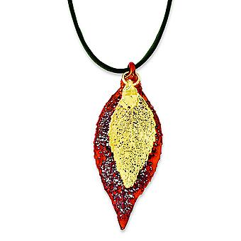 Iridescent Copper/24k Gold Dipped Double Evergreen Leaf Necklace - 20 Inch