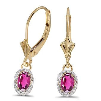 10k Yellow Gold Oval Pink Topaz And Diamond Leverback Earrings