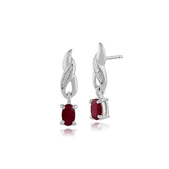 Gemondo 9ct White Gold 0.64ct Ruby & Diamond Classic Drop Earrings