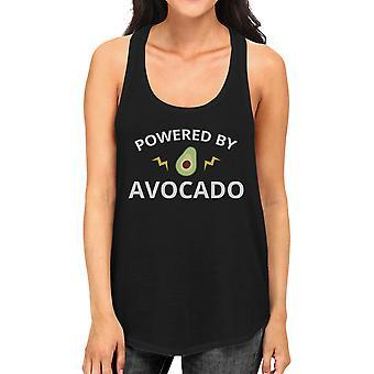 Powered By Avocado Womens Black Cute Graphic Tank Top Unique Design