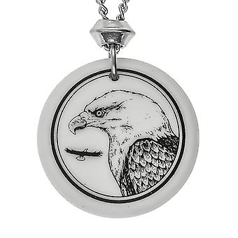 Handmade Bald Eagle 2 Totem Round Shaped Porcelain Pendant