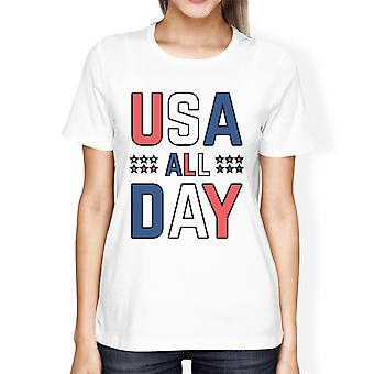 USA alla dag kvinnor vit rund hals tröja rolig självständighetsdagen